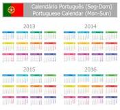 Calendrier 2013-2016 portugais de type 1 Lundi-Sun Image libre de droits