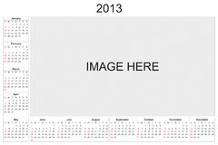 Calendrier 2013 Photographie stock