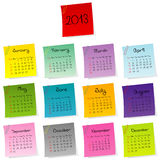calendrier 2013 fait en positionnement coloré de post-it Images libres de droits