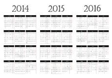 Calendrier 2014-2015-2016 Images stock