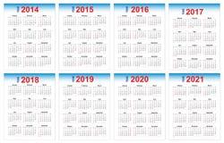 Calendrier 2014-2021 Photos stock