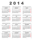 calendrier 2014 Photos stock