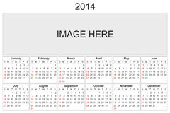 Calendrier 2014 Photo libre de droits