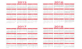 Calendrier 2015 2018 Image stock