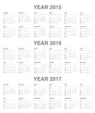 Calendrier 2015, 2016, 2017 Images stock