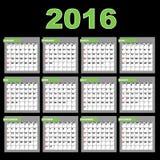 calendrier 2016 illustration de vecteur