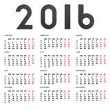calendrier 2016 Photos libres de droits