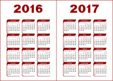 Calendrier 2016, 2017 Photographie stock