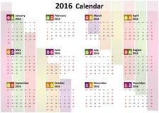 calendrier 2016 Photo stock