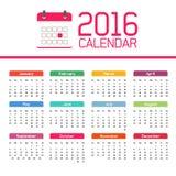Calendrier 2016 Photographie stock libre de droits