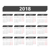calendrier 2018 Photos stock