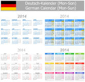 Calendrier allemand Lundi-Sun du mélange 2014 Image stock