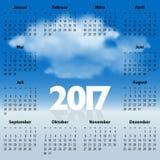 Calendrier allemand pendant 2017 années avec des nuages Images stock