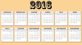 Calendrier américain 2016 débuts de semaine dimanche Photographie stock libre de droits