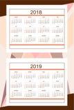 Calendrier américain d'affaires pendant l'année 2018, 2019 de mur Photographie stock