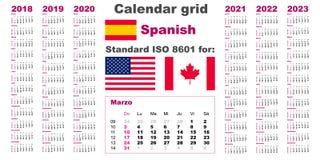 Calendrier américain USA standard Langue hispanique espagnole 2018 2019 2020 2021 2022 2023 débuts de semaine dimanche, Etats-Uni illustration libre de droits