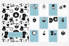 Calendrier 2019 Amusement et calendrier mignon avec les tasses tirées par la main illustration de vecteur