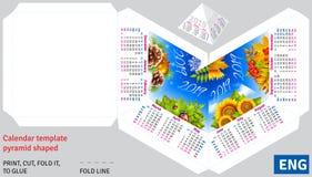 Calendrier anglais 2019 de calibre par la pyramide de saisons formée Photographie stock