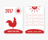 Calendrier anglais de poche 2017 ans Image libre de droits