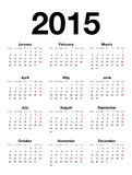 Calendrier anglais pour 2015 Images stock