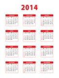 calendrier 2014 anglais rouge Photos stock