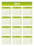 calendrier 2014 anglais vert Images libres de droits