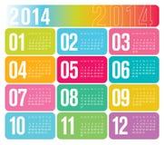 Calendrier 2014 annuel Photo libre de droits