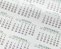 Calendrier 2017 annuel de plan rapproché montrant des mois Image libre de droits