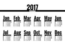 Calendrier 2017 ans illustration libre de droits