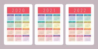 Calendrier 2020, 2021, 2022 ans Calibre vertical de conception de calendrier de vecteur Ensemble coloré Débuts de semaine dimanch illustration libre de droits