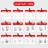 Calendrier 2018 ans dans le style simple Conception de planificateur de calendrier Photographie stock