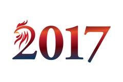 Calendrier 2017 ans du coq : Signe chinois de zodiaque illustration stock