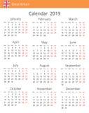 Calendrier 2019 ans pour le pays de la Grande-Bretagne Débuts de semaine lundi illustration de vecteur