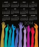 calendrier 2014 avec beaucoup de mains Photographie stock libre de droits