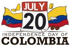 Calendrier avec des drapeaux et des icônes colombiennes pour célébrer le Jour de la Déclaration d'Indépendance, illustration de v Photographie stock