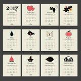 Calendrier 2017 avec des mois de symboles illustration stock