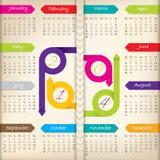 calendrier 2014 avec des rubans de flèche de couleur Photo libre de droits