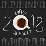 Calendrier 2018 avec du café Photographie stock libre de droits