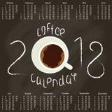 Calendrier 2018 avec du café Image libre de droits