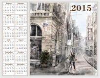 Calendrier 2015 avec l'illustration de la rue de ville