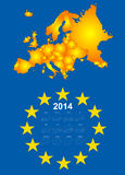 calendrier 2014 avec la carte de l'Europe Photos libres de droits