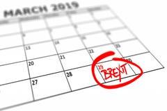 Calendrier avec la date marquée le 29 mars 2019 où le Brexit devrait être de finition photos stock