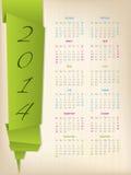 calendrier 2014 avec la flèche verte d'origami Photo libre de droits