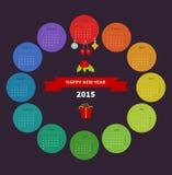 Calendrier 2015 avec la page de papier pendant des mois illustration libre de droits