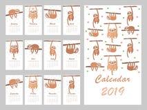 Calendrier 2019 avec la paresse mignonne Illustration de vecteur illustration libre de droits