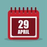 Calendrier avec le 29 avril dans une conception plate Illustration de vecteur illustration libre de droits