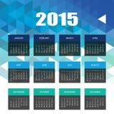 Calendrier 2015 avec le fond bleu de mosaïque de triangles Photos libres de droits