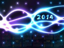 calendrier 2014 avec le fond de plasma Photo libre de droits