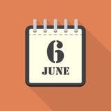 Calendrier avec le 6 juin dans une conception plate Illustration de vecteur illustration de vecteur