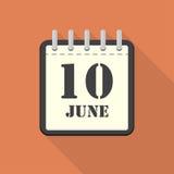 Calendrier avec le 10 juin dans une conception plate Illustration de vecteur illustration stock